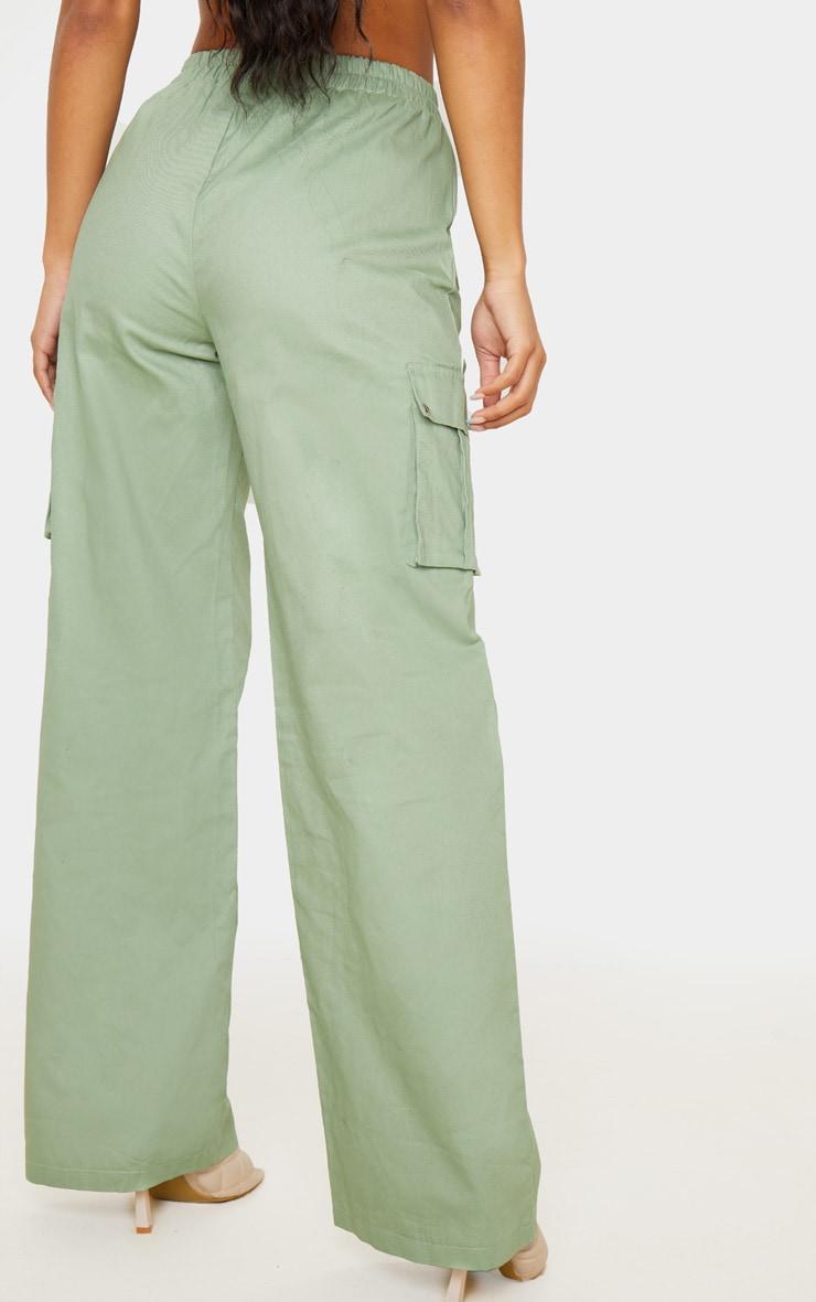 Sage Green Wide Leg Cargo Pants 4