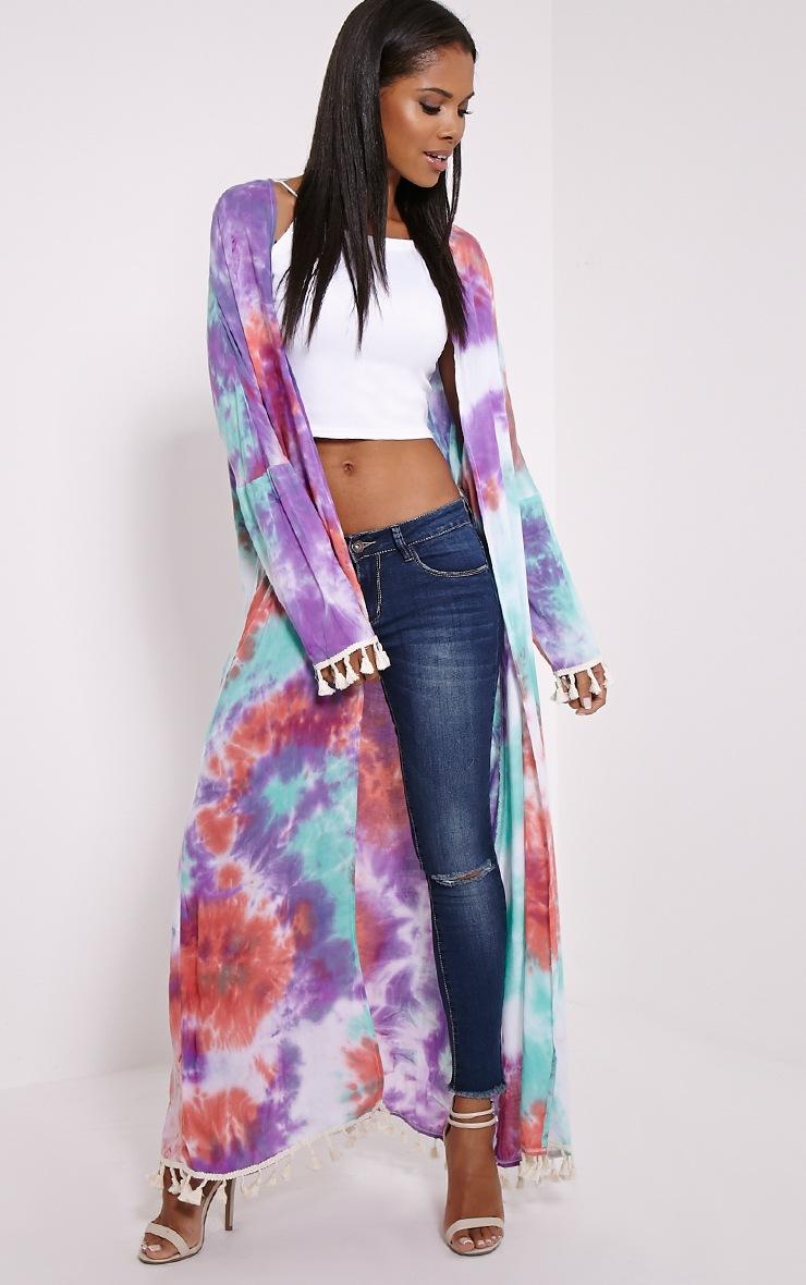 Amber Purple Tie Dye Maxi Kimono 3