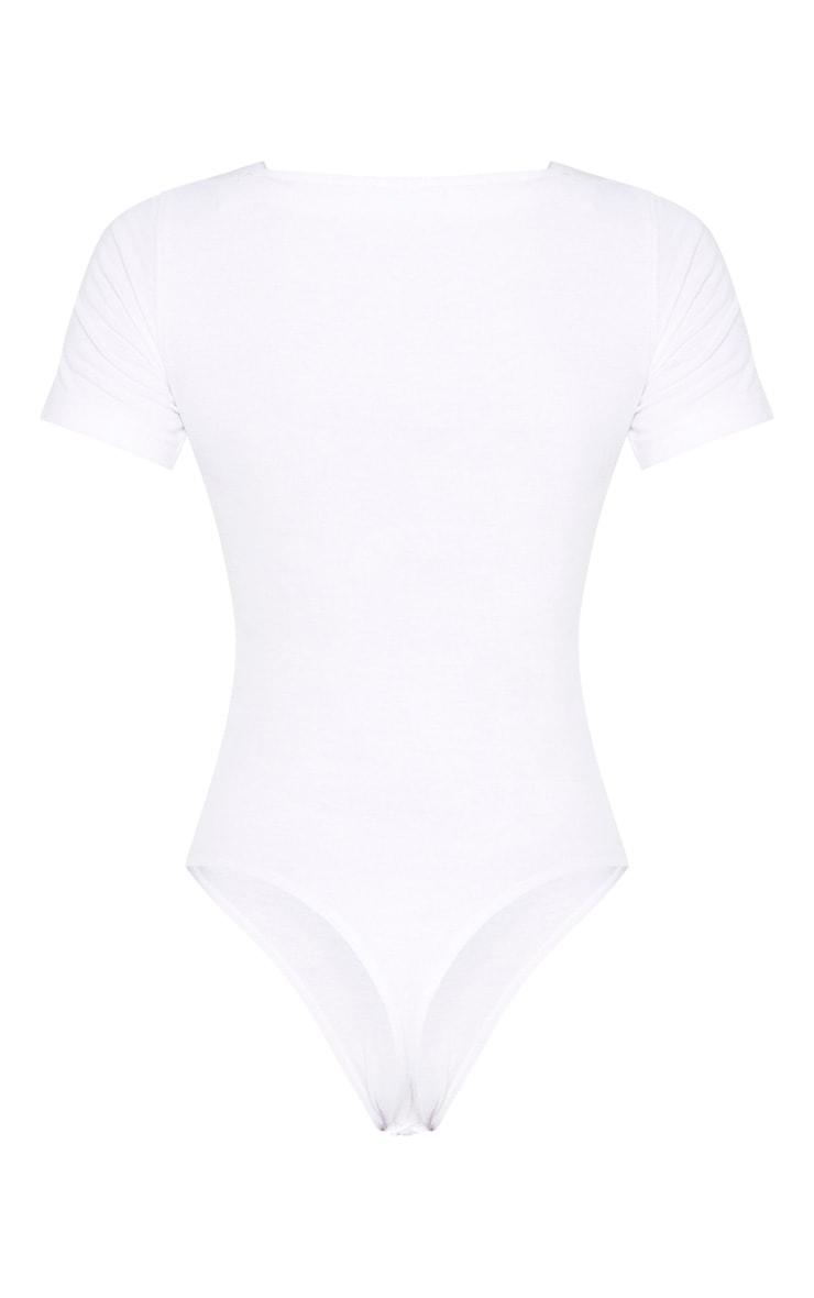 White Cotton Square Neck Bodysuit 6