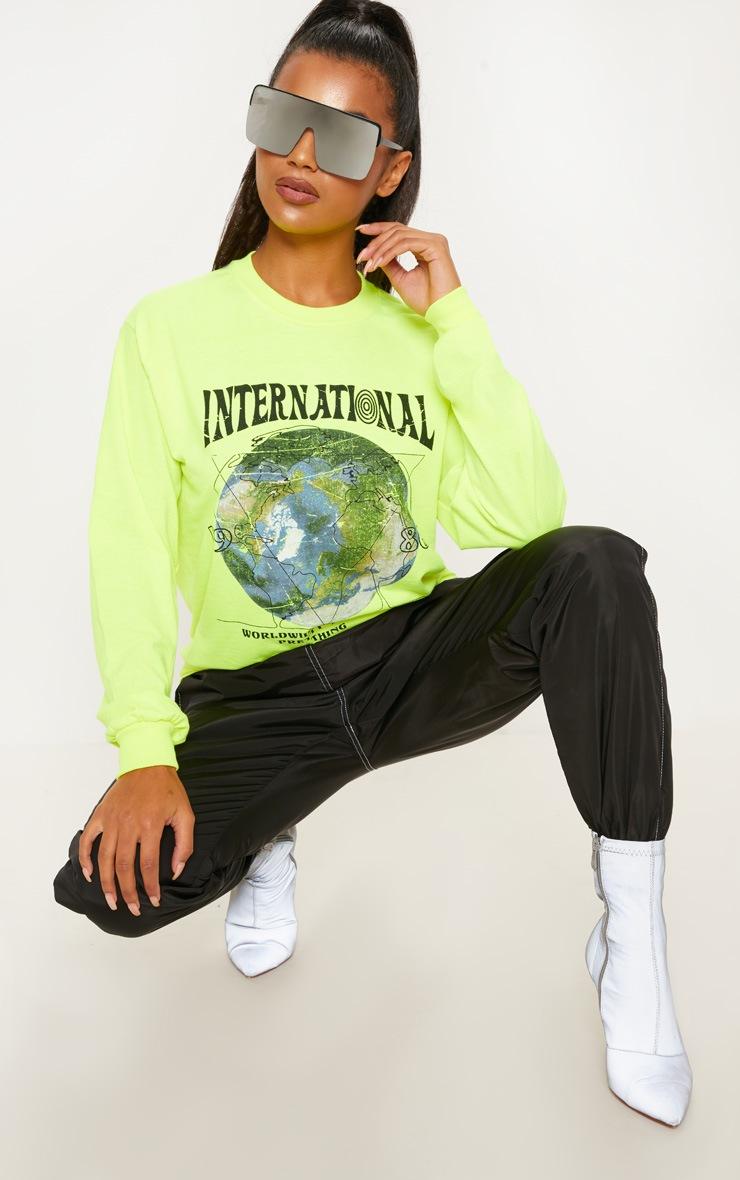 Neon Yellow International Print Oversized Long Sleeve Tshirt