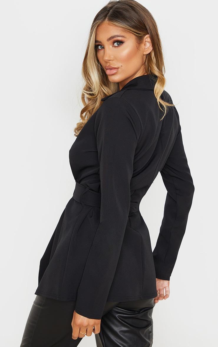 Black Woven Belted Longline Blazer 2