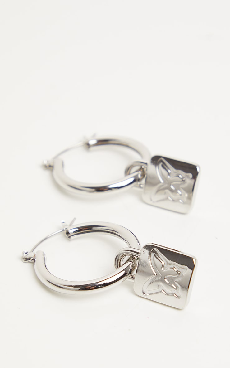 Silver Butterfly Lock Hoop Earrings 1