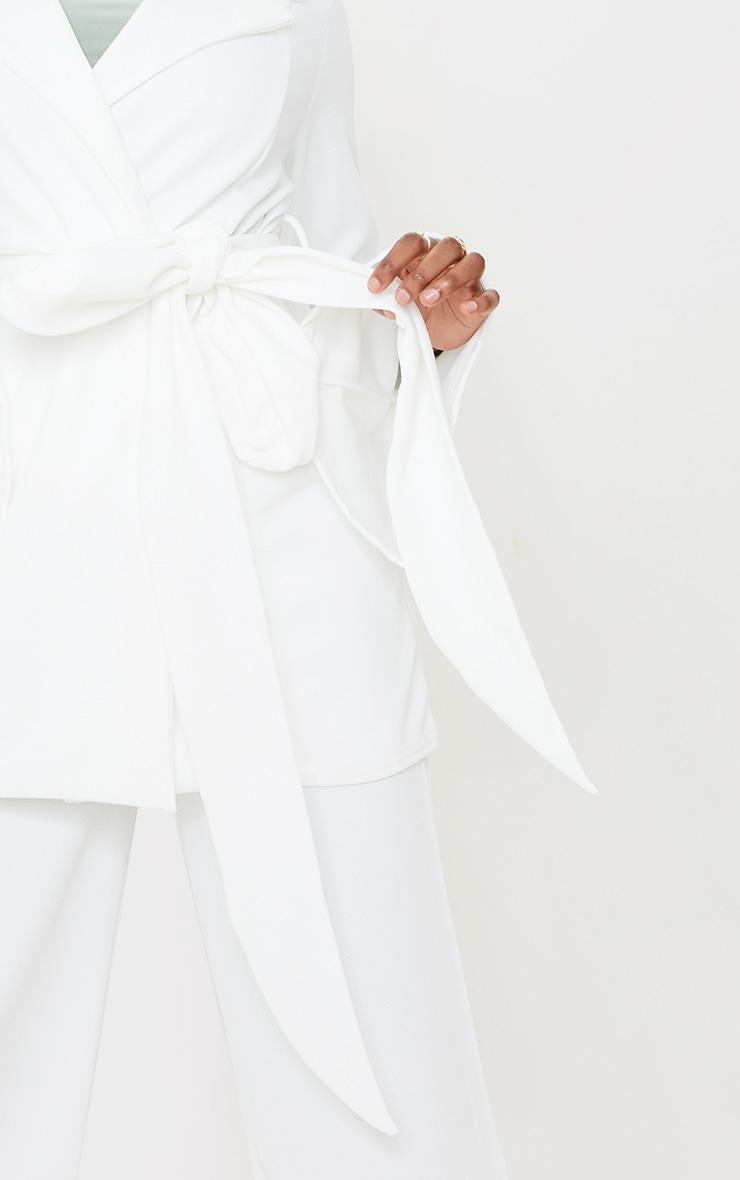 Cream Crepe Flare Sleeve Tie Jacket 4