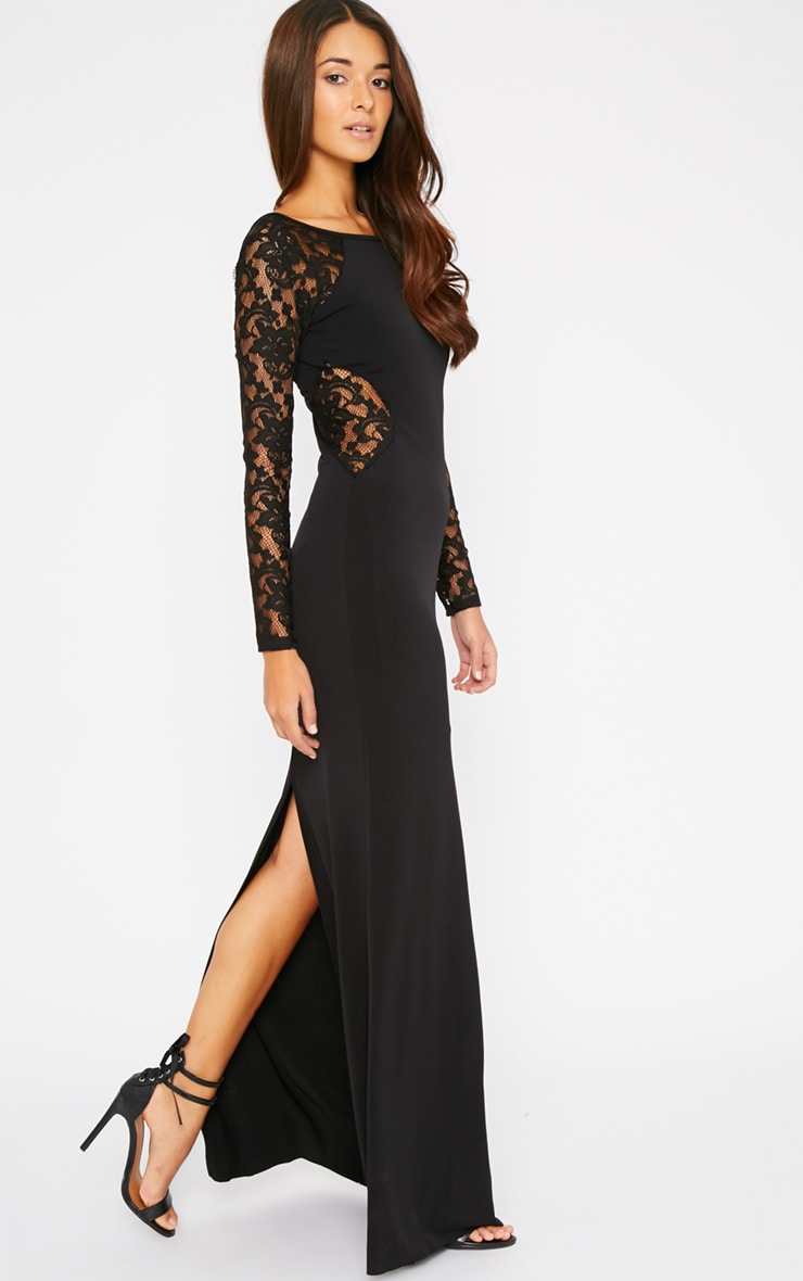 Debbie Black Lace Insert Maxi Dress 1