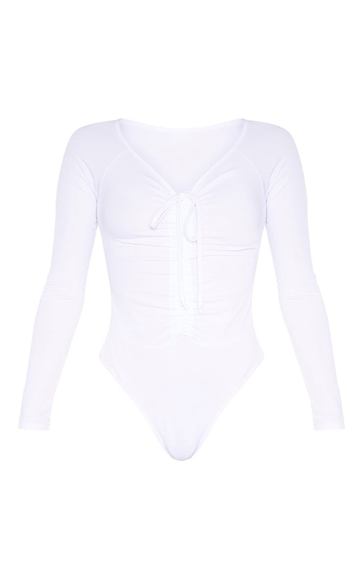 White Ruched Front Long Sleeve Bodysuit 3