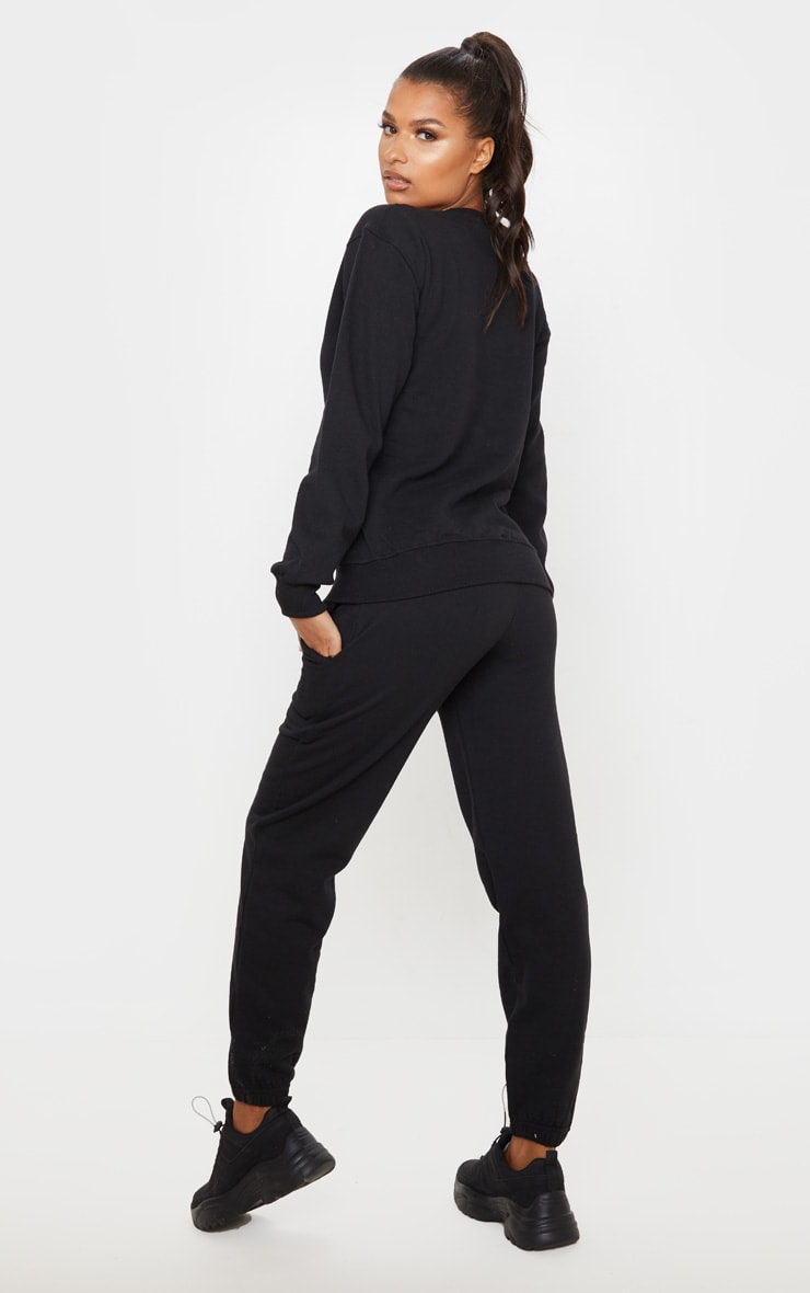 PRETTYLITTLETHING Black Care Logo Gym Sweat Top 2