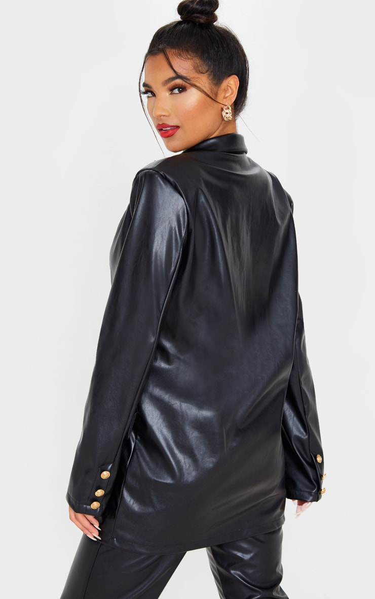 Black PU Oversized Double Breasted Pocket Front Blazer 2