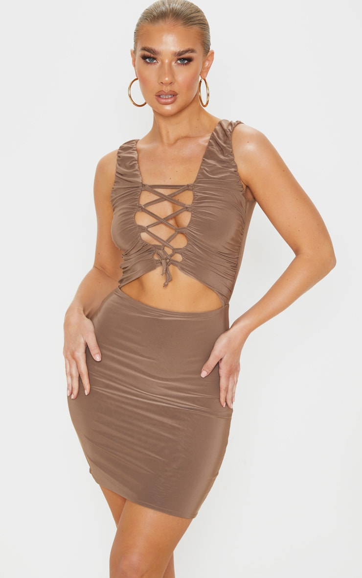 Mocha Slinky Lace Up Bust Detail Ruched Bodycon Dress 1