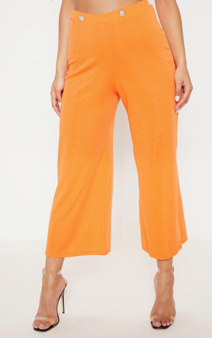 Hot Orange Button Detail Rib Culotte 2