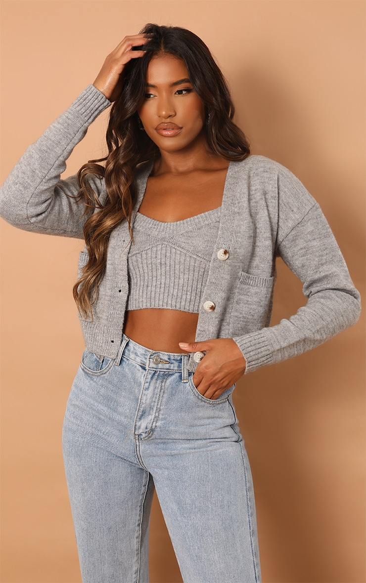 Grey Button Down Slouchy Pocket Cropped Cardigan 1