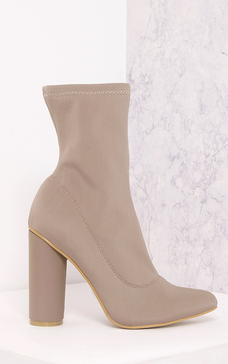 Leanah Mocha Neoprene Pointed Heeled Ankle Boots 3