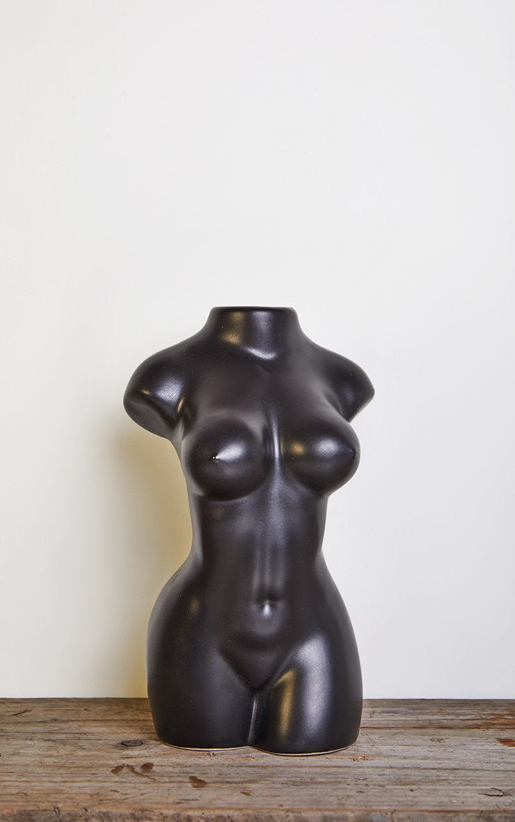 Black Matte Large Female Body Vase 3