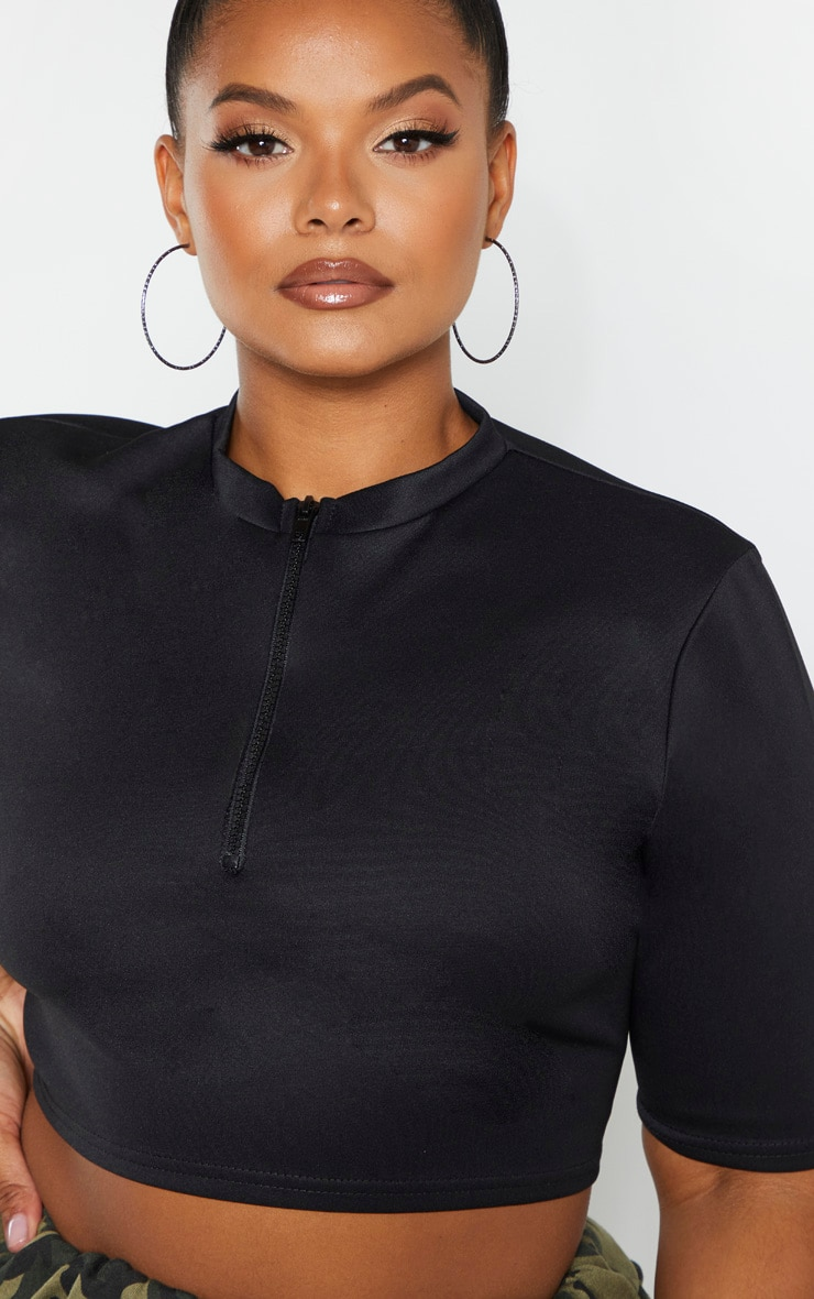 Plus Black Scuba Zip Front Crop Top  4