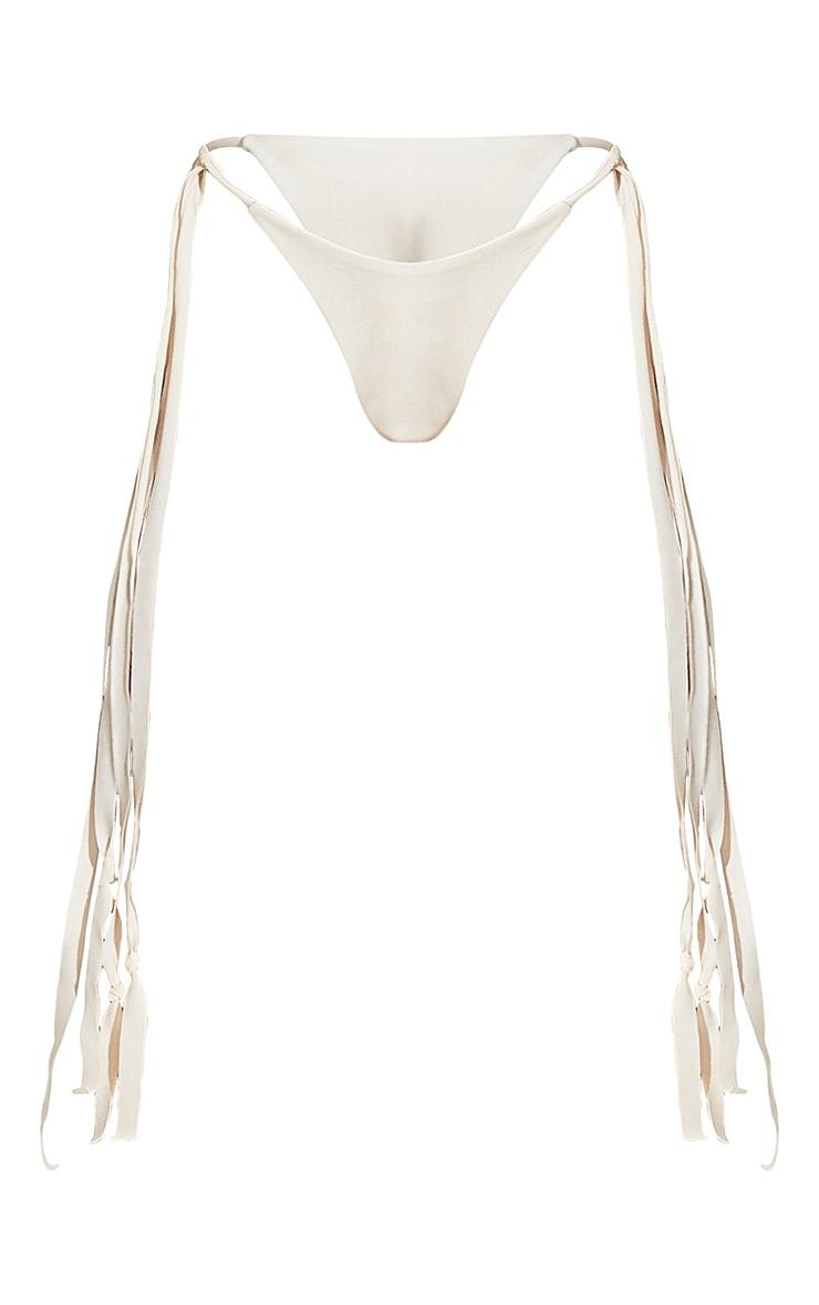 Cream High Leg Tassel Side Bikini Bottoms 8