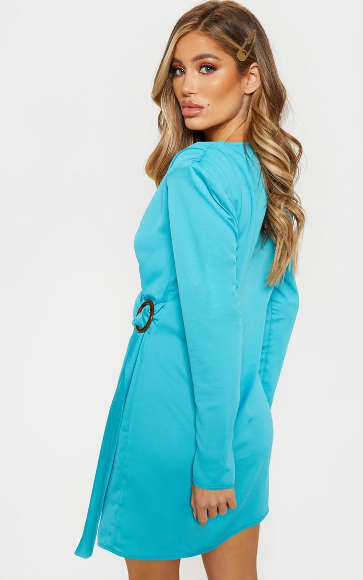 Bright Blue Shoulder Pad Buckle Detail Shift Dress 2