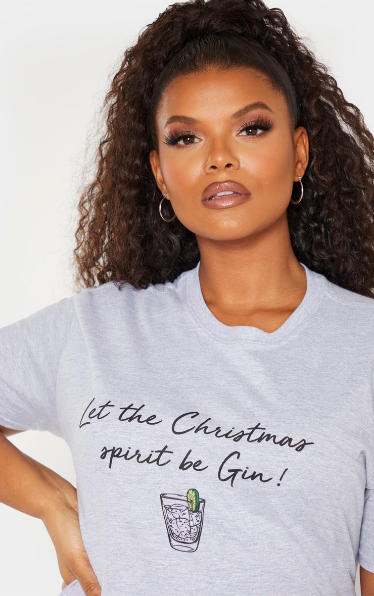 Plus Grey Marl Let The Christmas Spirit Be Gin Slogan T-Shirt 5