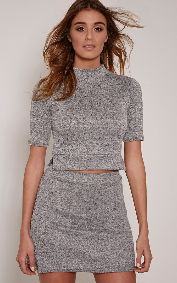 Zara Grey Knit A-Line Skirt 1