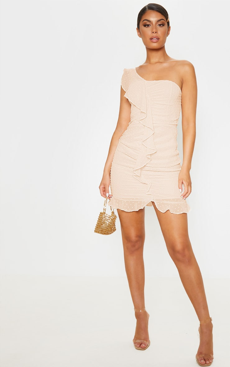 Nude Dobby Mesh One Shoulder Frill Bodycon Dress  4