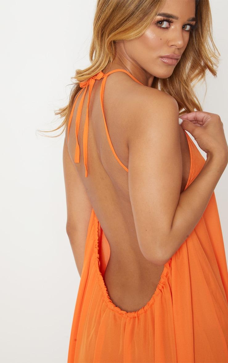 Petite Orange Halterneck Scoop Back Maxi Dress 5