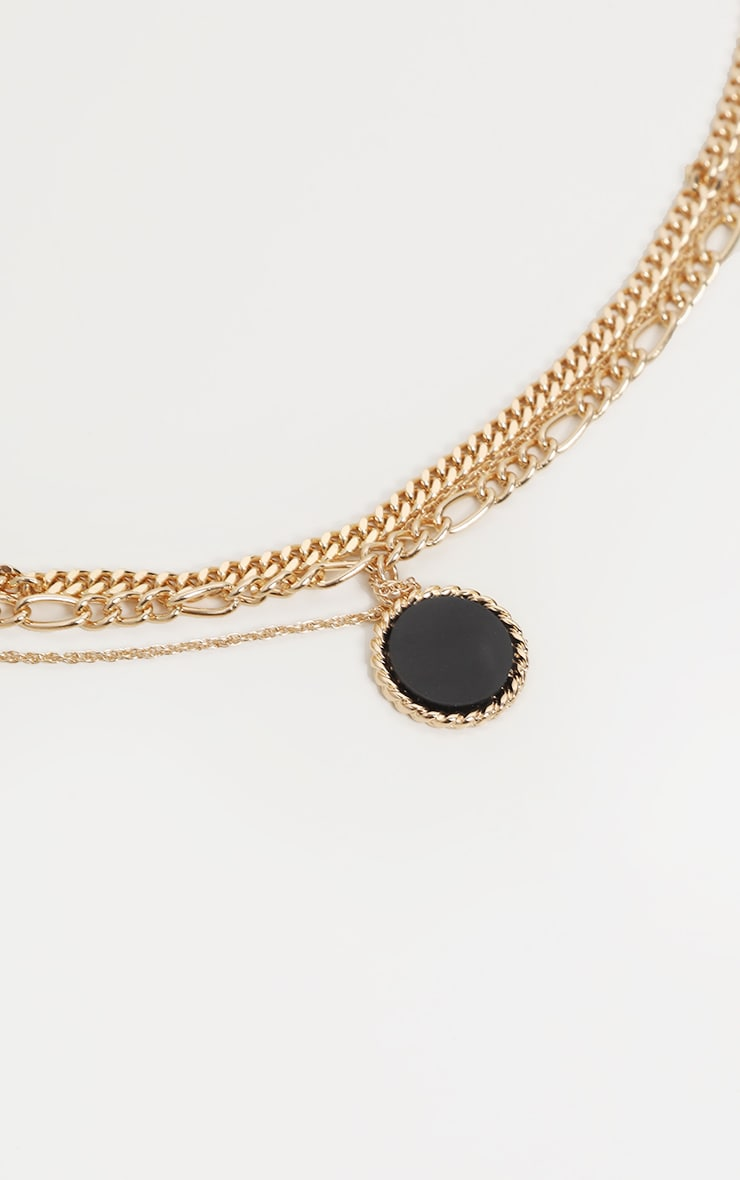 Gold Triple Chain Black Stone Layering Necklace 4