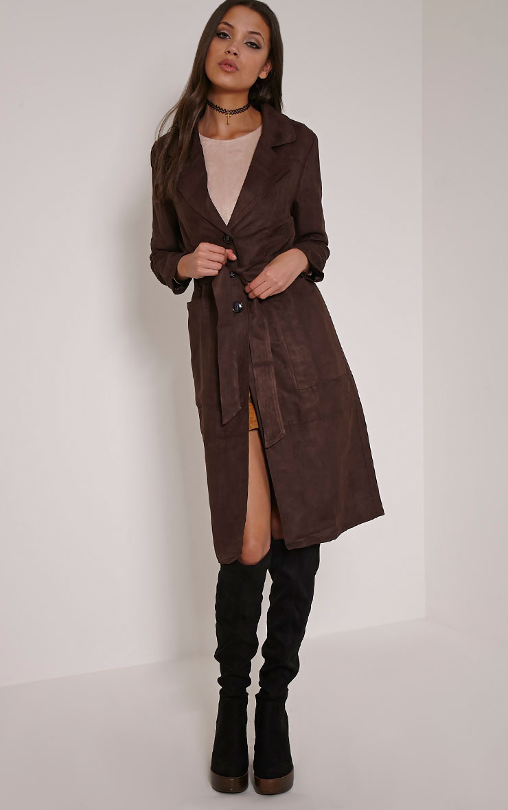 Elinor Chocolate Faux Suede Trench Coat 3