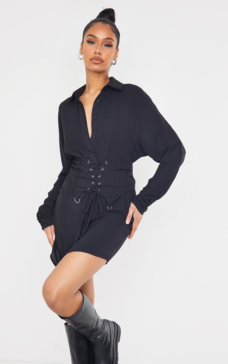 Black Corset Waist Detail Shirt Dress 1