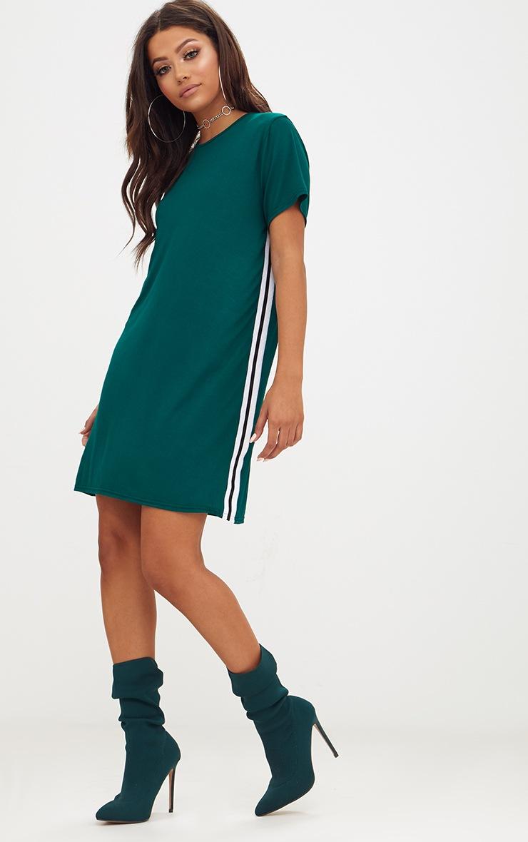 Forest Green Sports Stripe T Shirt Dress 4