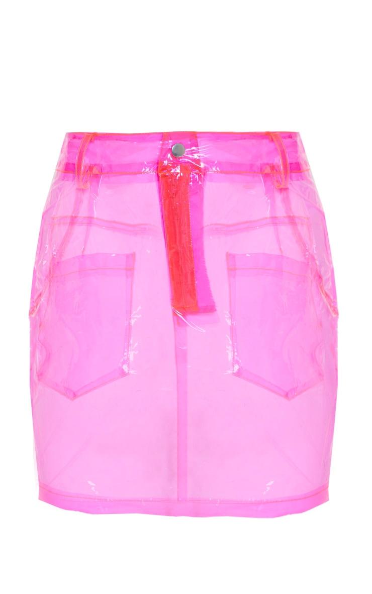 Hot Pink Transparent Mini Skirt 4