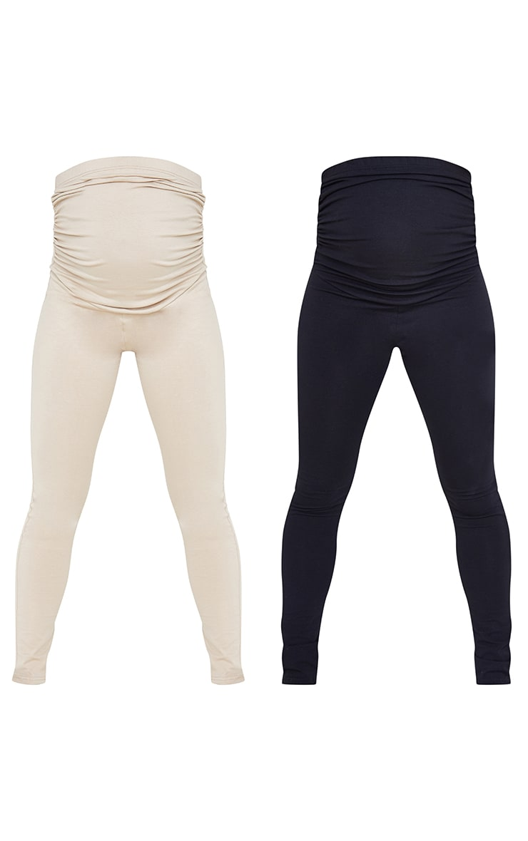 Maternity Stone and Black Two Pack Ruched Seam Leggings 5