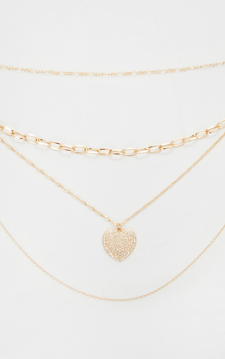 Gold Multi Layer Heart Chain Necklace 3