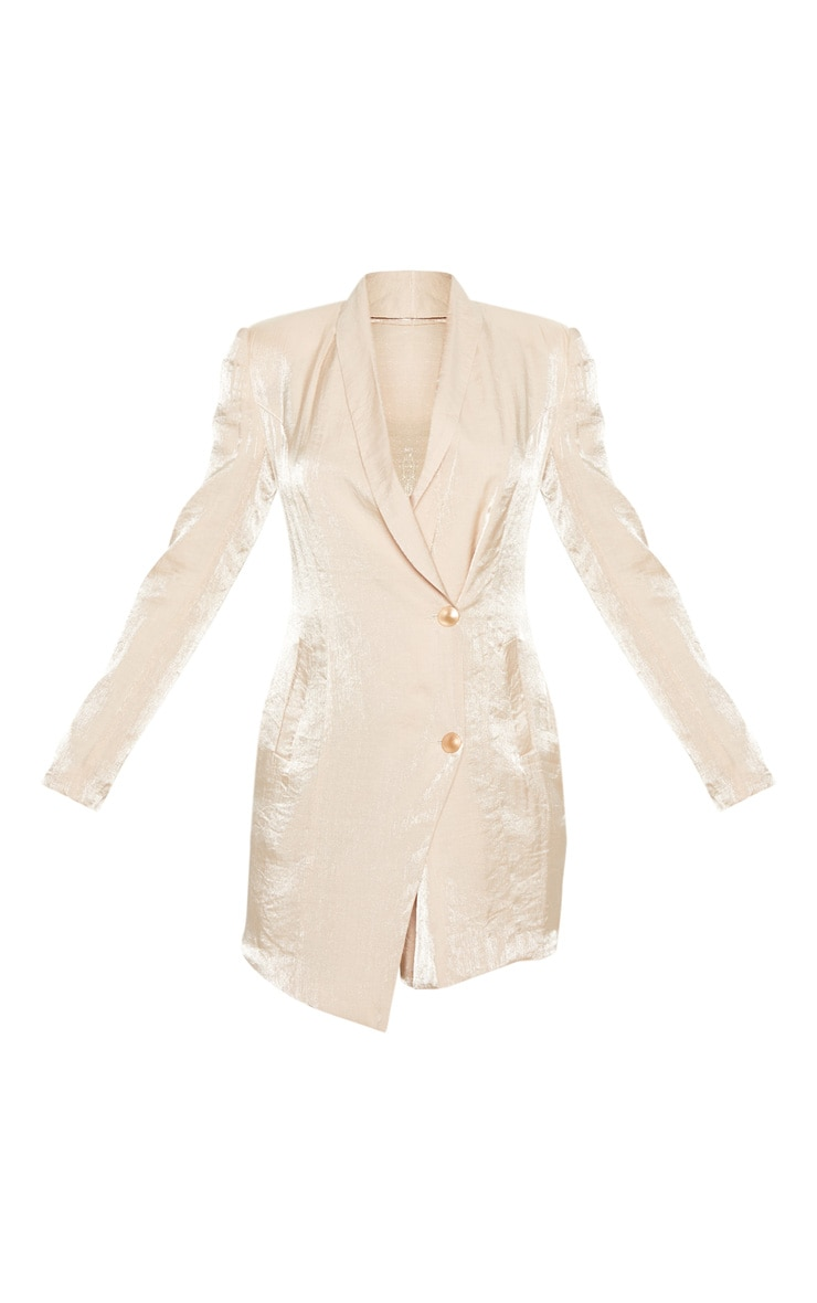 Champagne Pleated Shimmer Gold Button Blazer Dress 3