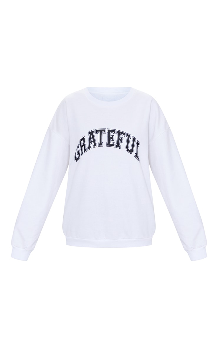 Sweat blanc à slogan Grateful  5