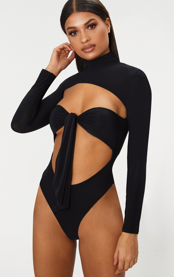 Black Slinky Roll Neck Tie Front Thong Bodysuit 2