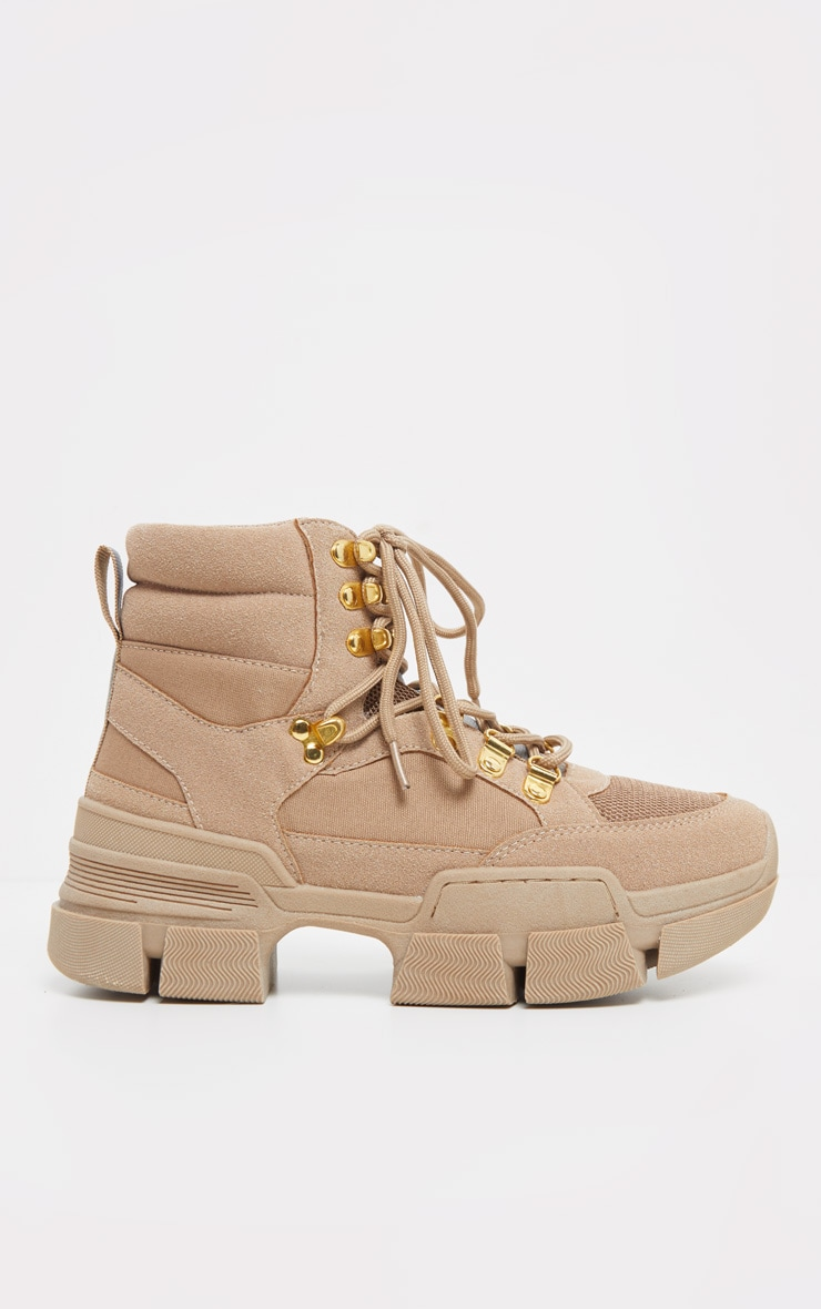 Tan Lace Up Cleated Sole Hiker Boot 3