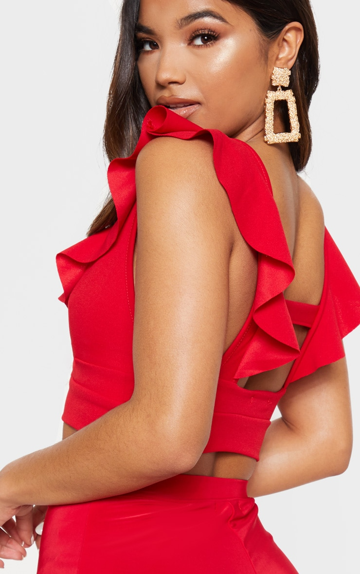 Red Frill Edge Plunge Crop Top  5