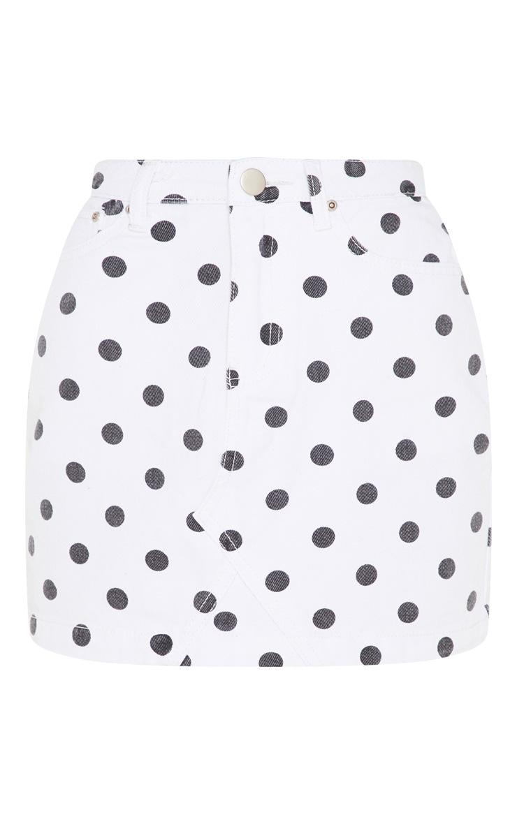 Monochrome Basic Spot Print Denim Skirt  3