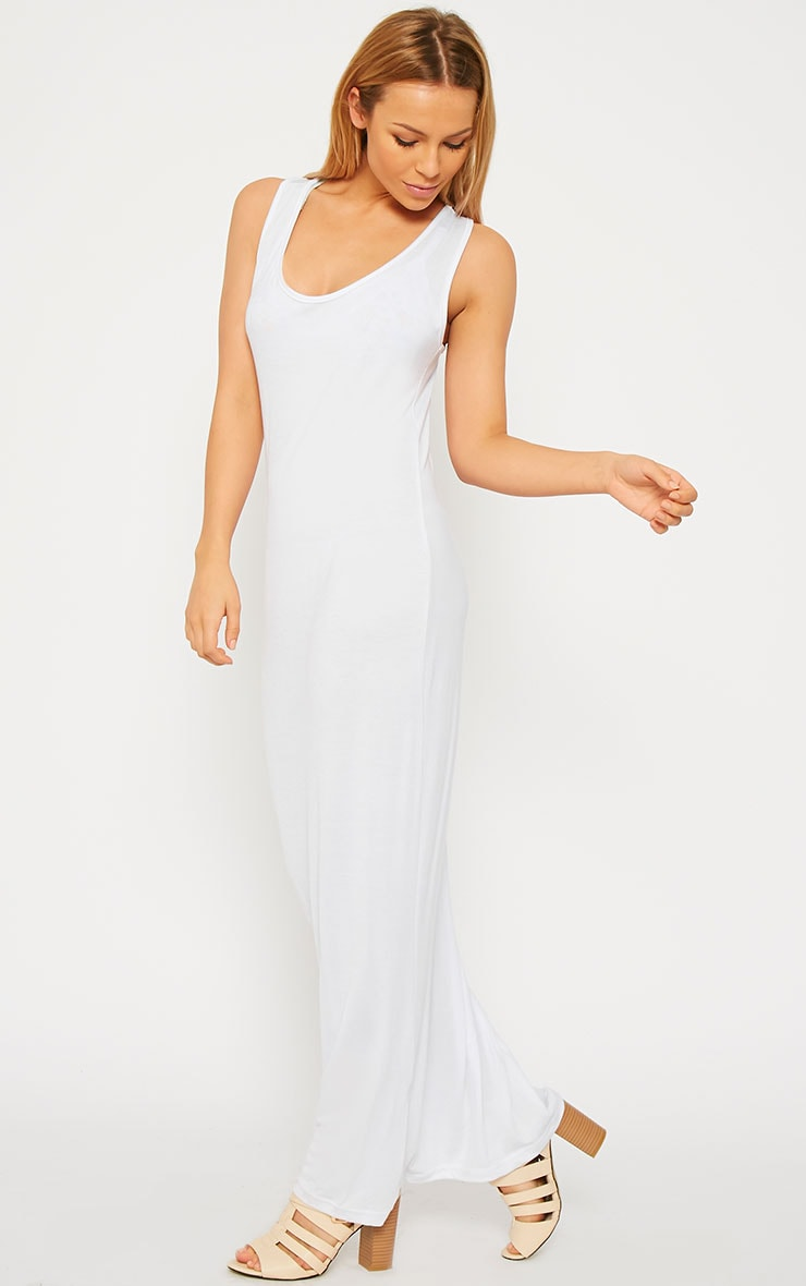 Basic White Jersey Maxi Dress 4