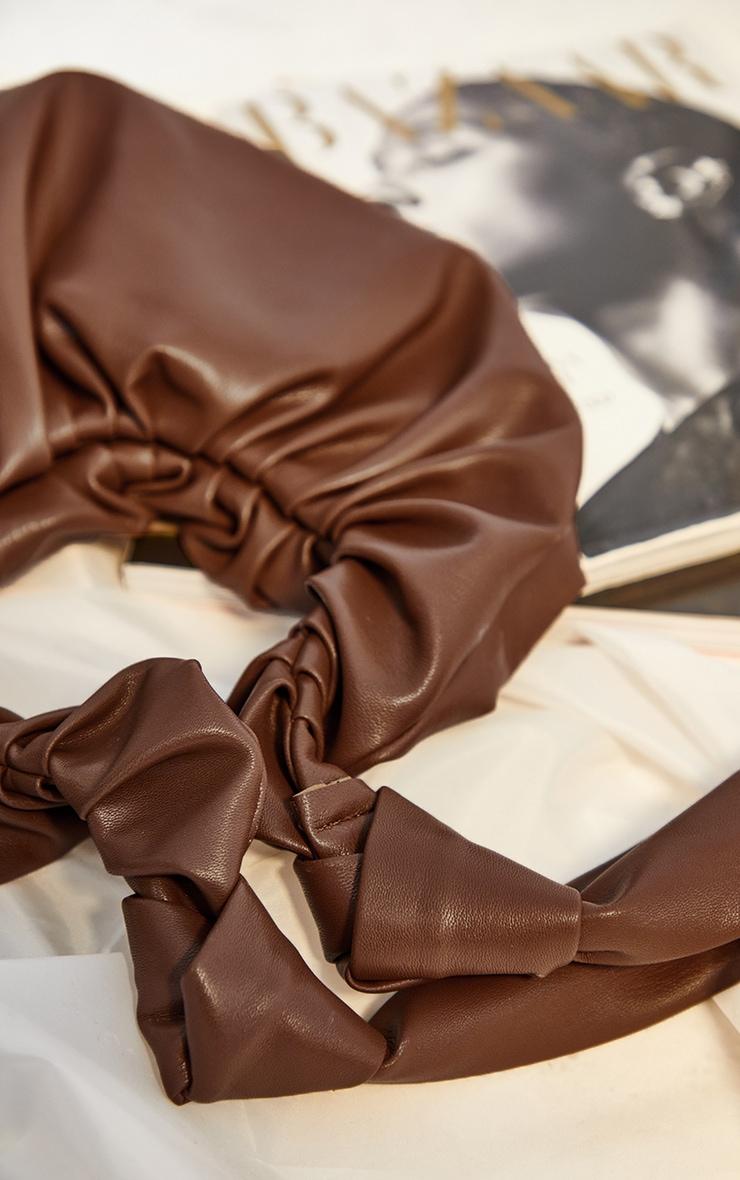 Chocolate Large Ruched Shoulder Bag 3