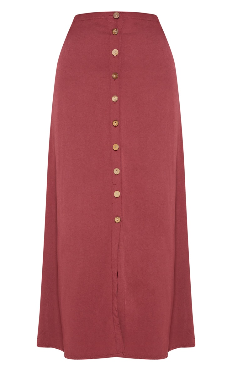 Wine Button Front High Waisted Midi Skirt 3