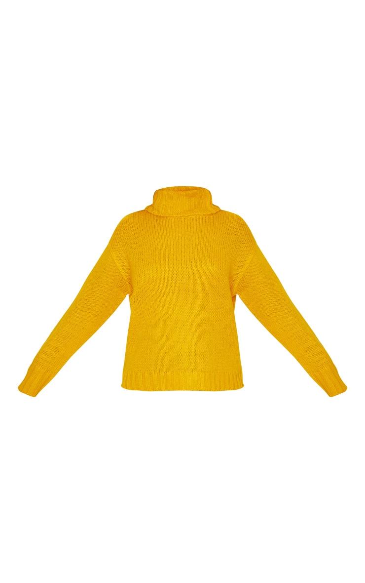 Mustard Roll Neck Chunky Knit Sweater 4