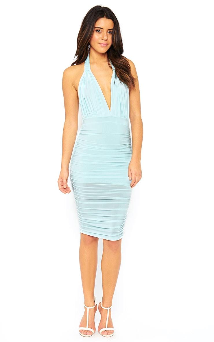Ambrosia Mint Plunge Neck Ruched Side Dress 3