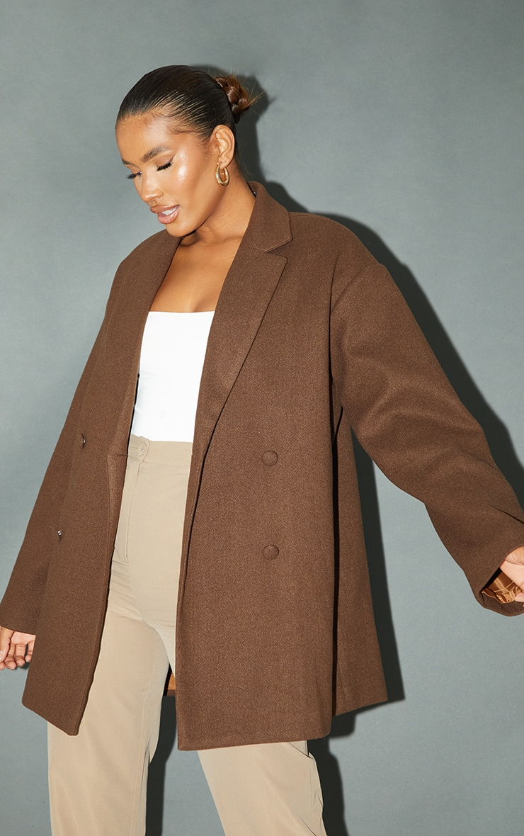 Chocolate Wool Look Oversized Grandad Blazer 3