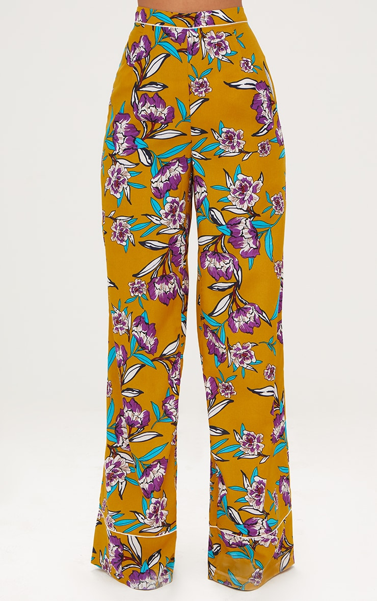Mustard Contrast Piping Floral Wide Leg Trousers 2