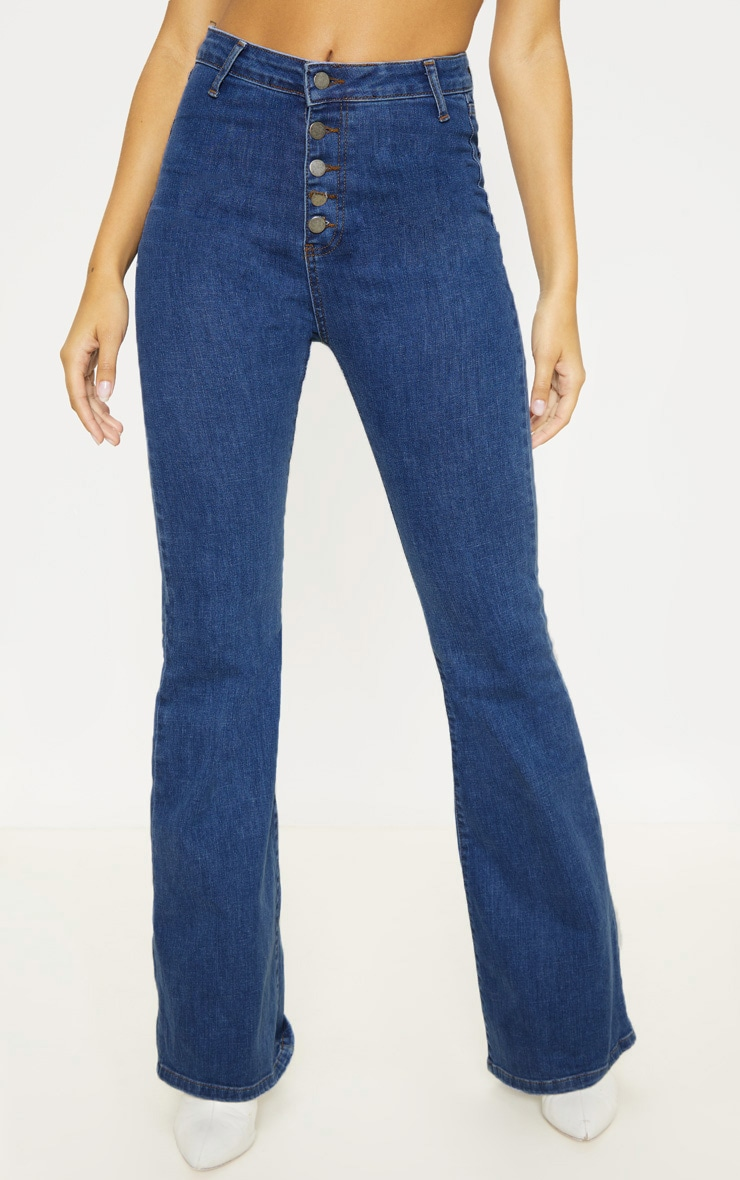Mid Wash High Waisted Stretch Flare Jean 2