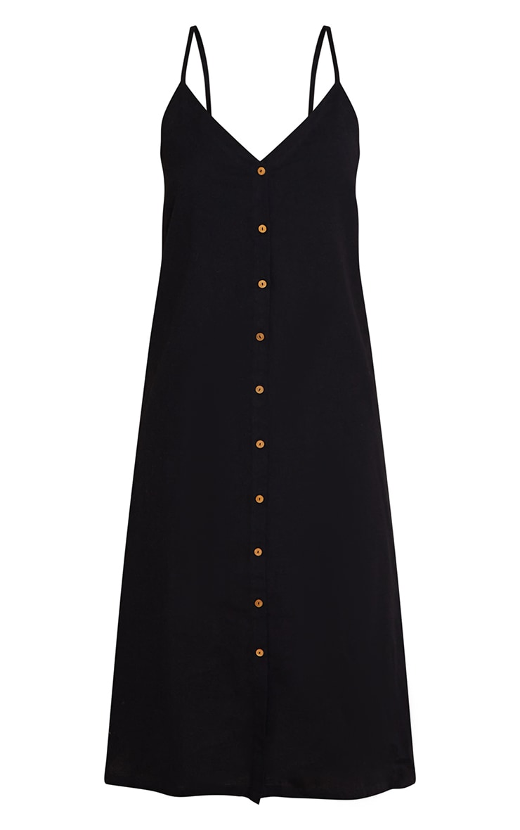 Black Linen Wooden Button Down Strappy Slip Maxi Dress 5