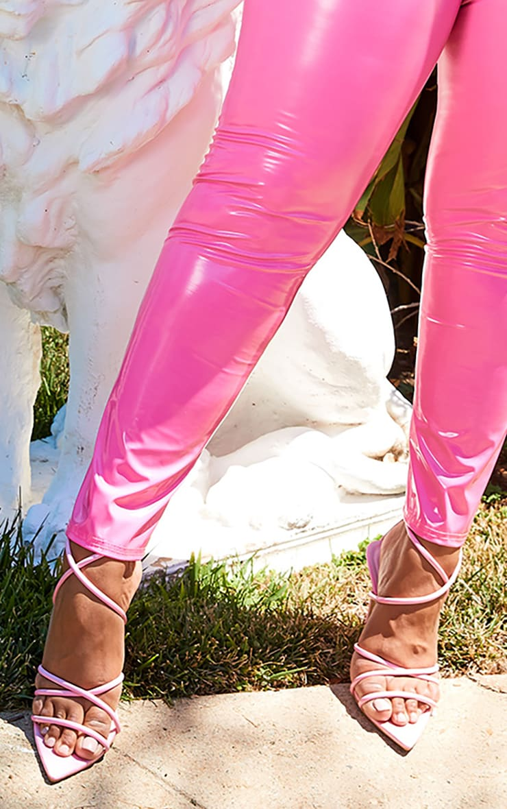 Plus Hot Pink Vinyl High Waist Trousers 6