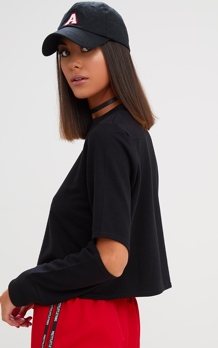 Black Cut Out Sleeve Sweater 2