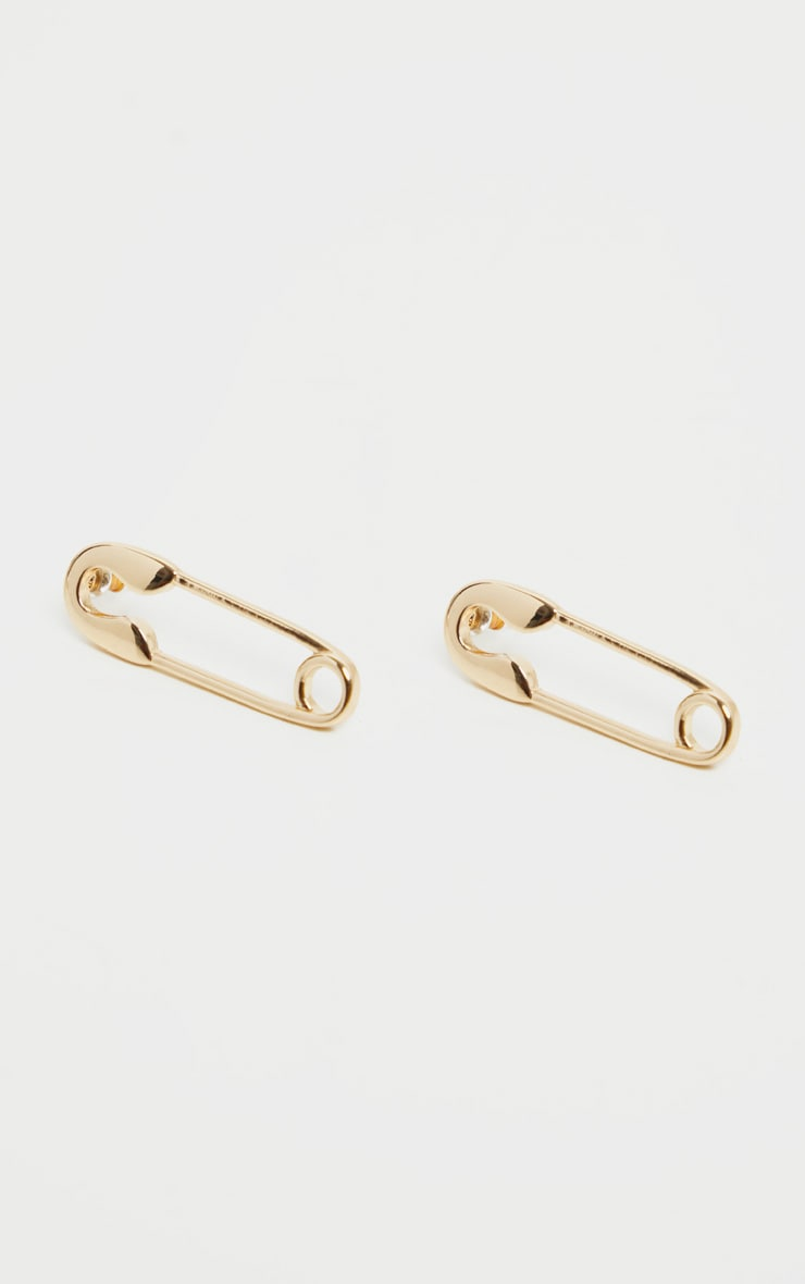 Gold Safety Pin Earrings 2