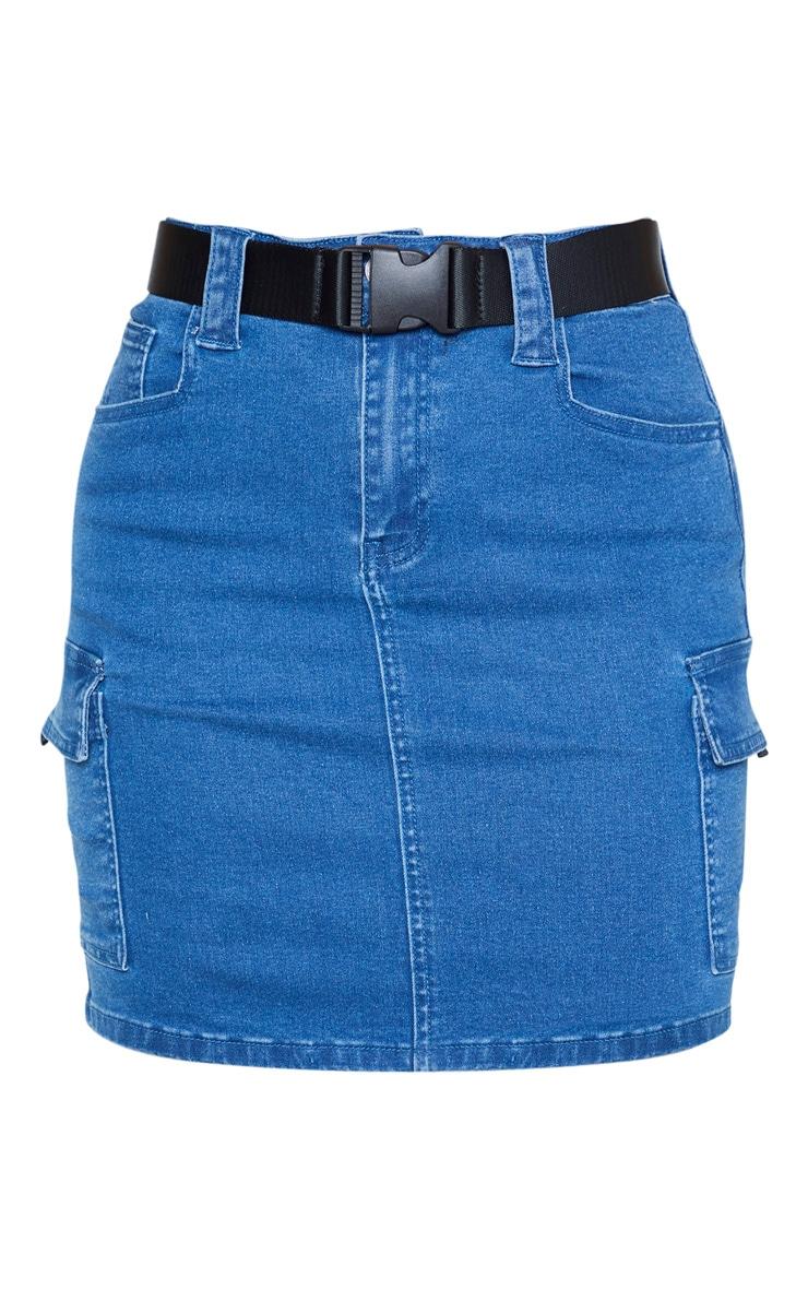 Tall Mid Wash Cargo Pocket Belted Denim Skirt 3