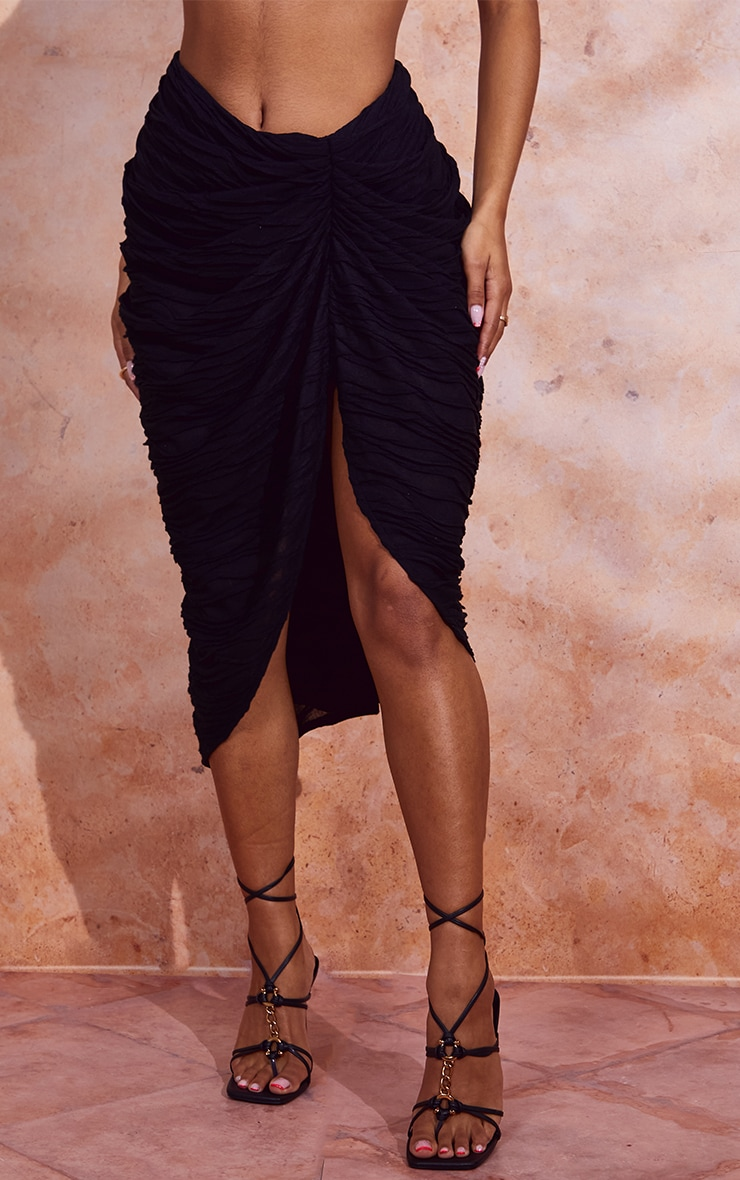 Black Textured Dip Waist Ruched Midi Skirt 2